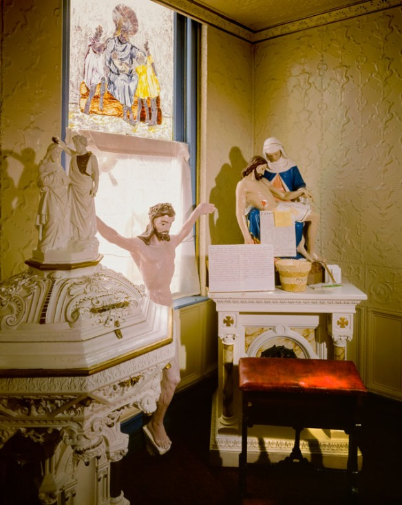 Interior corner of the HOly Family Catholic Church in Jerome AZ